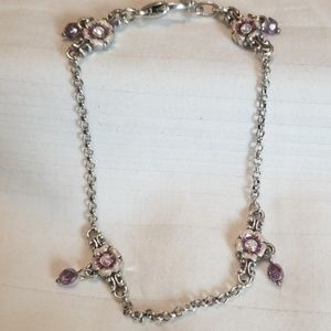 Jewelry - Silver Purple Flower Jewel Bracelet Ankle